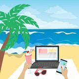 Freelance on the beach. vector illustration