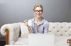 Freelance business woman Stock Images