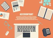 Freelance career. Accountant. Flat design . Freelance career. Accountant Stock Photo