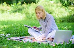 Freelance career concept. Guide starting freelance career. Become successful freelancer. Managing business outdoors. Woman with laptop sit grass meadow royalty free stock photo