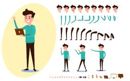 Freelance character creation set for animation. Set of guy in casual clothes in various poses. Parts body template. Different emotions, poses and  running Stock Photos
