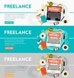 Freelance Concept Banner. Vector freelance concept banner. Flat style vector illustration online web banner Stock Images