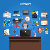 Freelance concept pictograms composition poster. Freelance opportunities for creative jobs concept pictograms composition poster with staff member at work Stock Photo