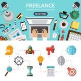 Freelance conceptenbanner als achtergrond in vlakke stijl Stock Afbeelding