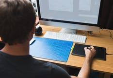 Freelance developer or designer working. At home Stock Images