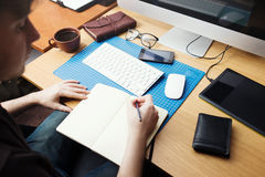 Freelance developer and designer working at home Royalty Free Stock Images