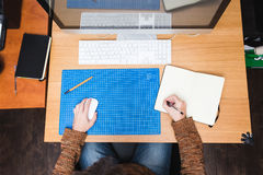 Freelance developer or designer working at home. Workplace view Stock Images