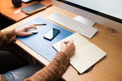 Freelance developer or designer working at home. Workplace view Royalty Free Stock Photography