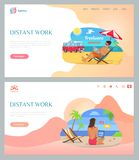 Freelancers Working on Beach with Laptop Vector stock illustration