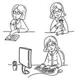 Freelance dziewczyn pracy na komputerze pić herbatę Ilustracja Wektor