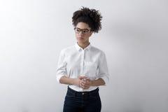 Freelance female. Wearing white blouse Stock Photography