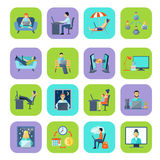Freelance Flat Color Icon Set Royalty Free Stock Image