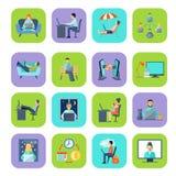 Freelance Flat Color Icon Set Royalty Free Stock Image