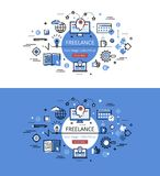 Freelance. Flat line color hero images and hero banners design c Royalty Free Stock Images