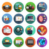 Freelance flat round icons collection. Freelance recruitment agency for temporary independent creative professional work flat icons set round abstract  vector Royalty Free Stock Photography