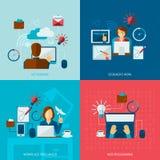Freelance Flat Set Royalty Free Stock Images