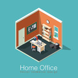 Freelance home office concept. Home office concept isometric vector illustration. Isometric side view interior home office room with bookshelf, desk, notes board Stock Images