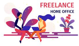 Freelance Home Office Workplace Horizontal Banner. vector illustration