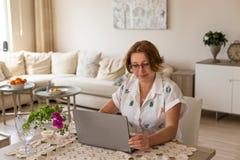 Freelance i ministerstwa spraw wewnętrznych pojęcie pracuje w domu kobietę Fotografia Stock