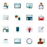 Freelance Icon Flat Set Stock Photography