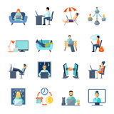 Freelance Icons Set. With working at home rest and laptop flat isolated vector illustration Stock Photos