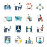 Freelance Icons Set Stock Photos