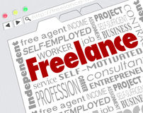 Freelance Indpendent Contractor Website Developer Word Collage. Freelance word on website screen and related terms like independent, contractor, self, employeed Stock Photos