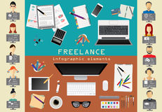 Freelance infographic template. Set elements for creating you ow Stock Photos