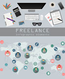 Freelance infographic template. Set elements for creating you ow Stock Photography