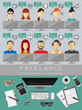 Freelance infographic template. Set elements for creating you ow Stock Images
