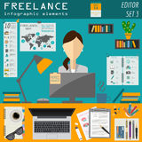 Freelance infographic template. Set elements for creating you ow Royalty Free Stock Image