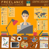 Freelance infographic template. Set elements for creating you ow Stock Photo