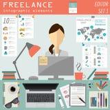 Freelance infographic template. Set elements  Stock Image