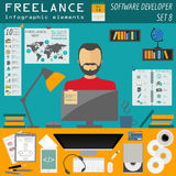 Freelance infographic template. Set elements Royalty Free Stock Photos