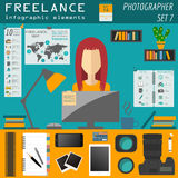 Freelance infographic template. Set elements Stock Photography