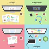 Freelance infographic. Working with laptop. Web developer, graphic designer, analyst and writer. Freelance jobs. Stock Photos