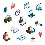 Freelance Isometric ikony Ustawiać Zdjęcie Royalty Free