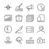 Freelance jobs line icon set 2. Included the icons as advertise, content, part-time, mobile, support and more. Stock Photography