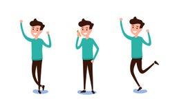 Freelance karakterontwerp De reeks van kerel in vrijetijdskleding in divers stelt gelukkige emotioneel De verschillende emoties e royalty-vrije illustratie