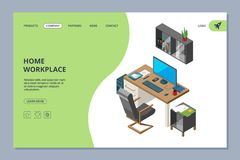 Freelance landing. Coworking space for artists and programmers professionals work vector web page design template royalty free illustration