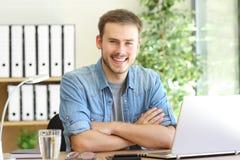 Freelance man posing at office Stock Photography