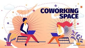 Freelance Online Job in Coworking Space, Developer royalty free illustration