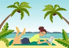 Freelance op het strand royalty-vrije illustratie