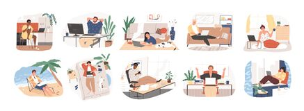 Free Freelance People Work In Comfortable Conditions Set Vector Flat Illustration. Freelancer Character Working From Home Or Stock Image - 169271221