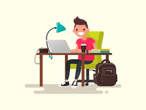 Freelance. Photographer or designer behind a desktop. Vector ill. Ustration of a flat design Stock Photography