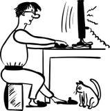 Freelance programmer working comic  illustration Royalty Free Stock Photos