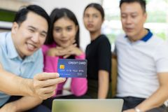 Freelance using credit card royalty free stock photography