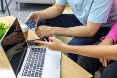 Freelance using credit card royalty free stock image
