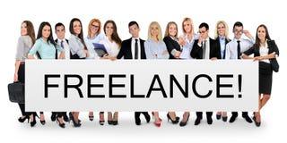 Freelance woord op banner royalty-vrije stock afbeelding
