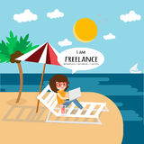 Freelance work anywhere and slow life. Royalty Free Stock Photos